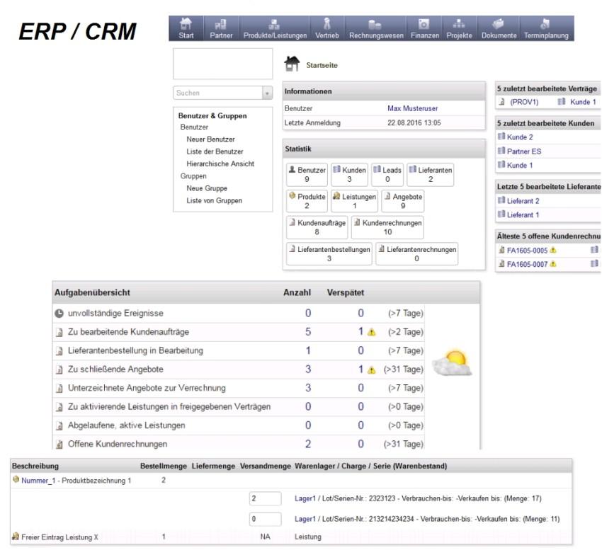 ERP CRM System screenshot